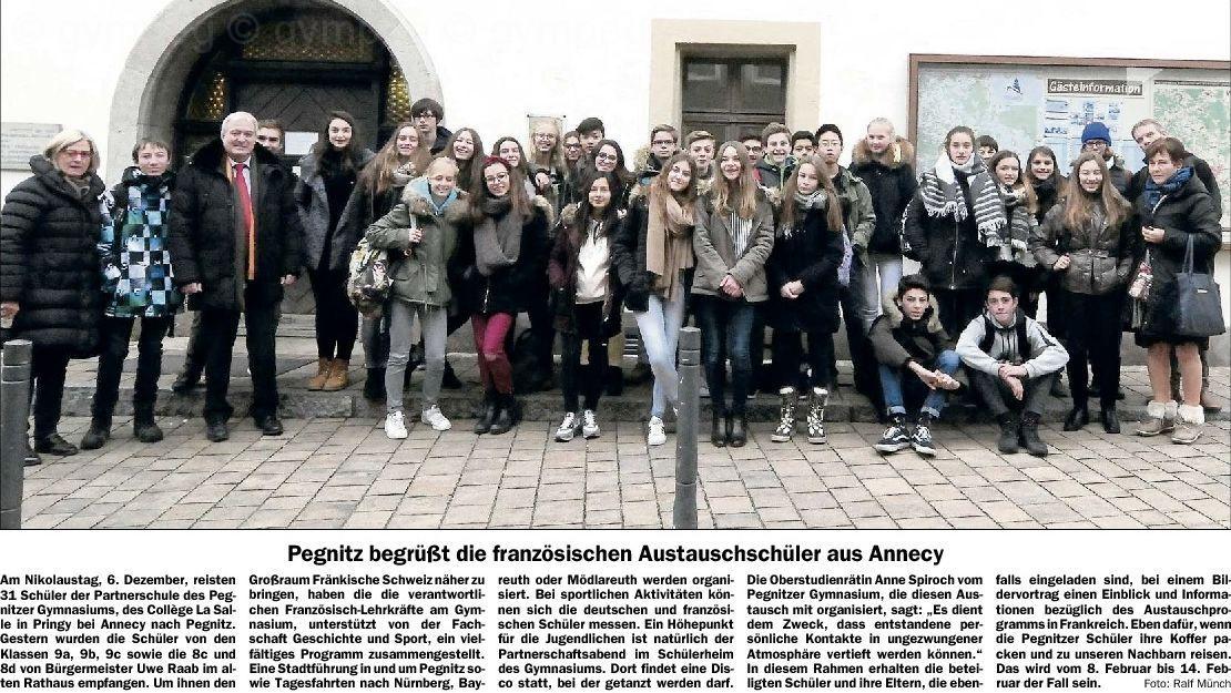 2016-12-10 Pegnitz begrüßt die französischen Austauschschüler aus Annecy